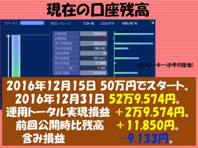 20161231トラッキングトレード検証口座残高