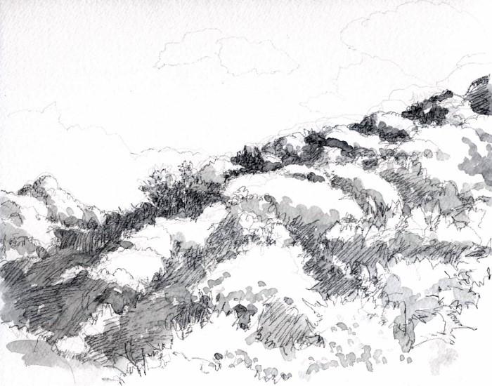 秋の山並み グリザイユ (700x550)