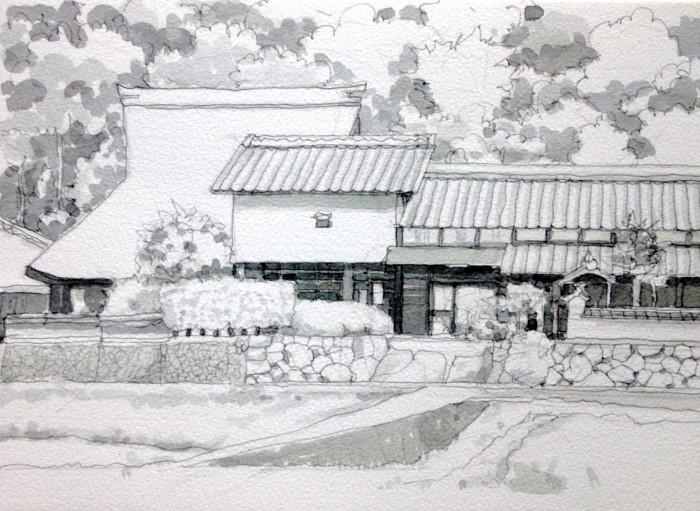 杉生の民家 グリザイユ (700x511)