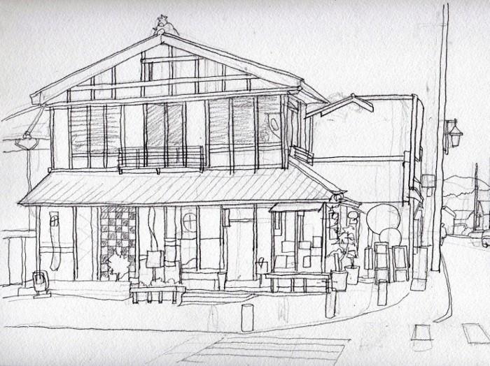 弥彦山登山口付近の土産店 デッサン (700x524)
