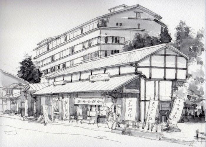 弥彦山登山口の風景 グリザイユ (700x498)