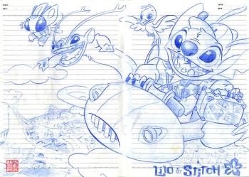 リロ&スティッチ Lilo & Stitch らくがき 絵 スケッチ 色鉛筆