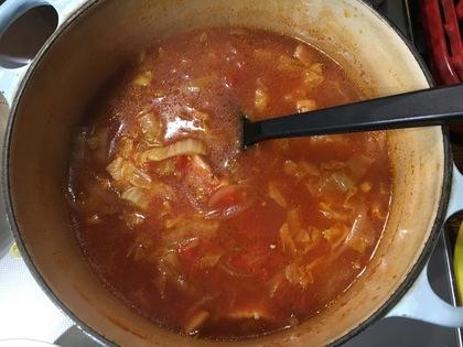 ベーコンと白菜のトマトスープ