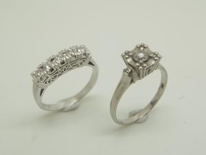 立爪と一文字のダイヤリング Before1