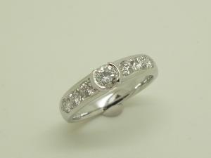 立爪と一文字のダイヤリング After1