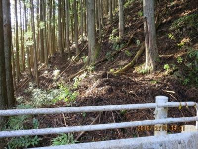 登山口(左への曲がり角のガードの切れ目)