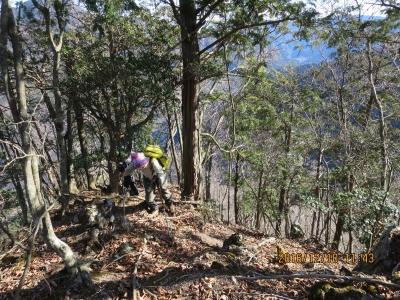 第2の露岩帯を登った多所