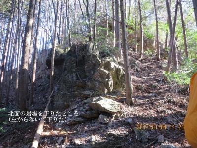 この岩場は北面を巻いて下りる。