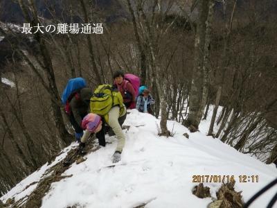 最大の難所通過(1,286m地点の手前)