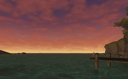 カザムから見える夕焼けの海