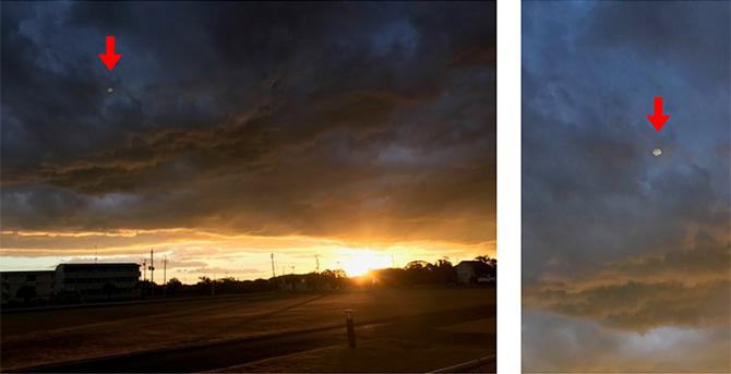 写真(1)2016年12月23日、幸福の科学の千葉正心館付近で撮影されたUFOらしきものの画像。右は拡大画像。