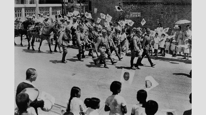 日本兵中国行進歓迎