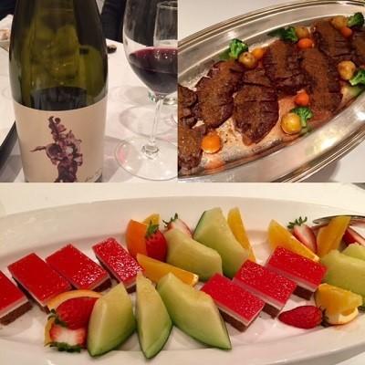 赤ワイン、牛さん料理、デザート