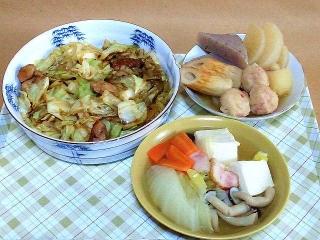 170110_4393 鶏肉とキャベツのオイスター胡椒炒め・中華風鶏団子のおでん・白菜と豆腐の煮物VGA