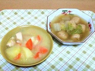170131_4428 財田さんの料理・鶏むね肉のコーンクリームシチュー白菜と・鶏団子のスープVGA