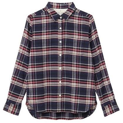 オーガニックコットンフランネルチェックシャツ