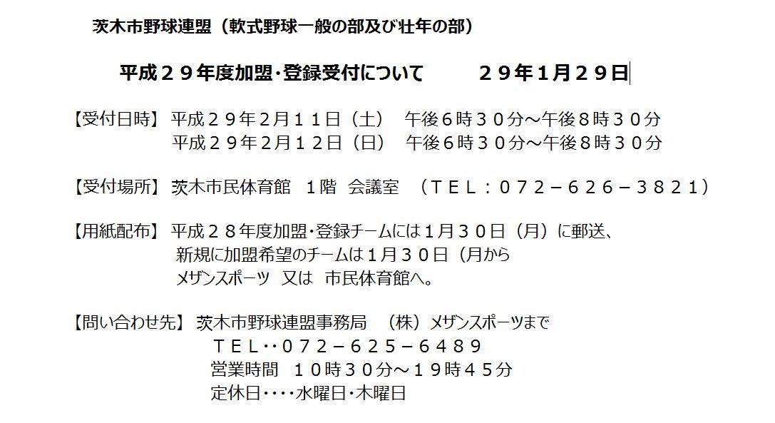 加盟登録29年度、茨木市野球連盟