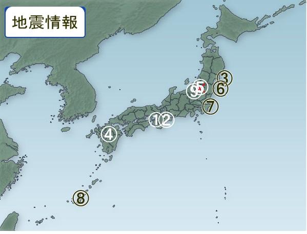 1月13日 地震分布図