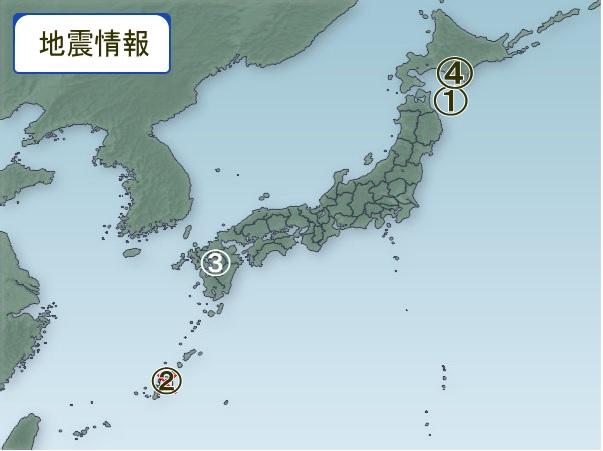 1月22日 地震図 日本全体