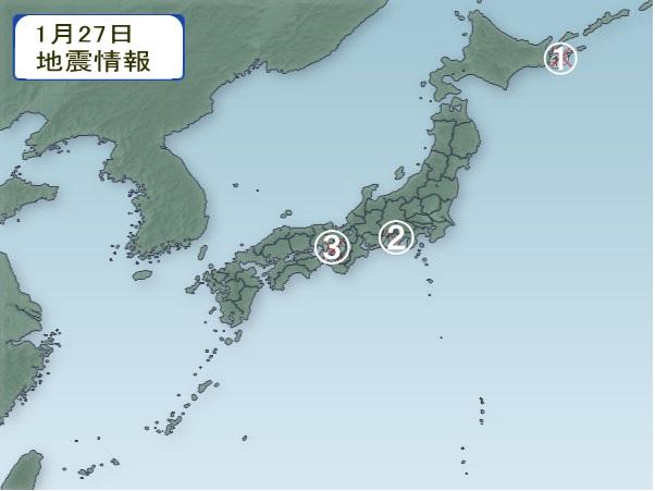 1月27日 地震分布図