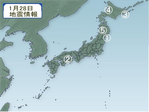 1月28日 地震分布図