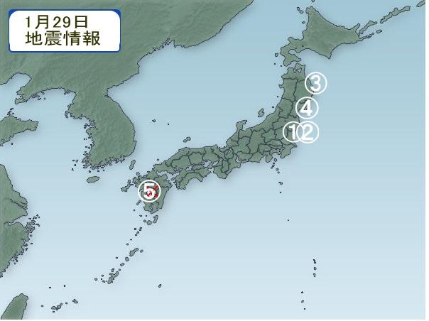 1月29日 地震分布図