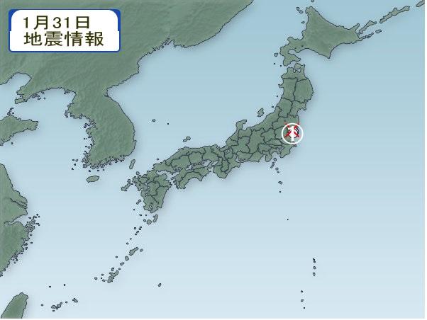 1月31日 地震分布図