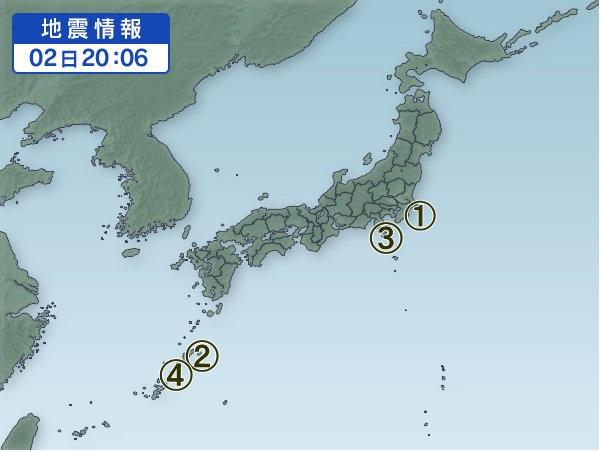 2月2日 地震分布図