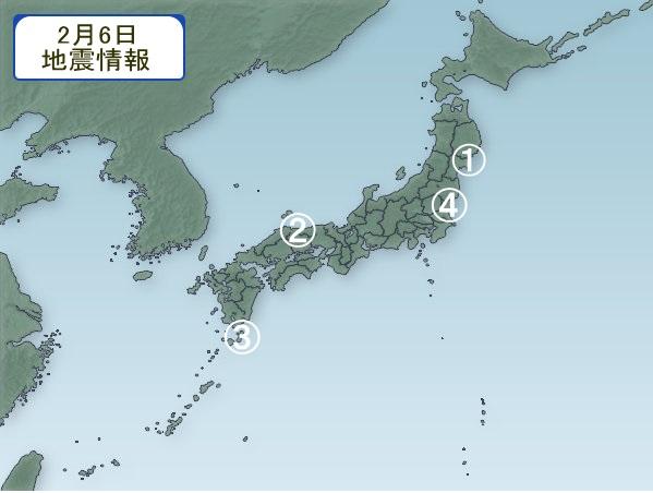 2月6日 地震分布図