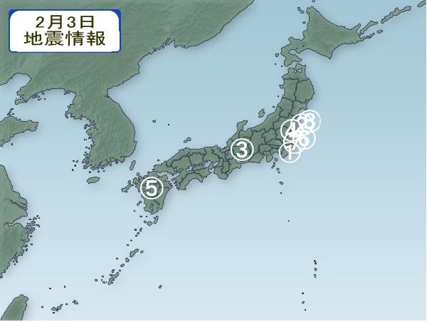 2月3日 地震分布図