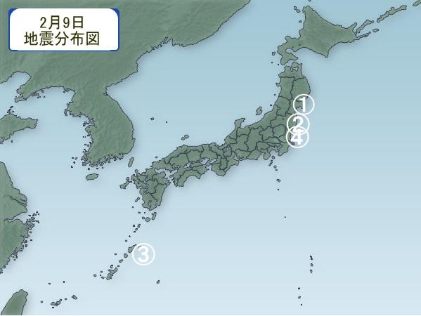 2月9日 地震分布図