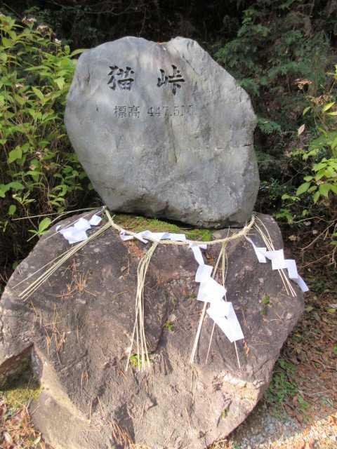 IMG6473JPG猫峠石碑を挟んで二本の林道