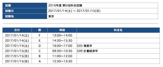 2016年度第4回科目試験申込