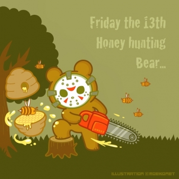 13日の金曜日 熊と蜂蜜イラスト