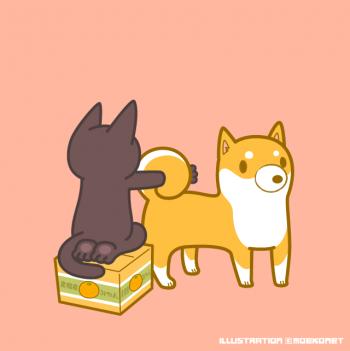 柴犬イラスト黒猫イラスト