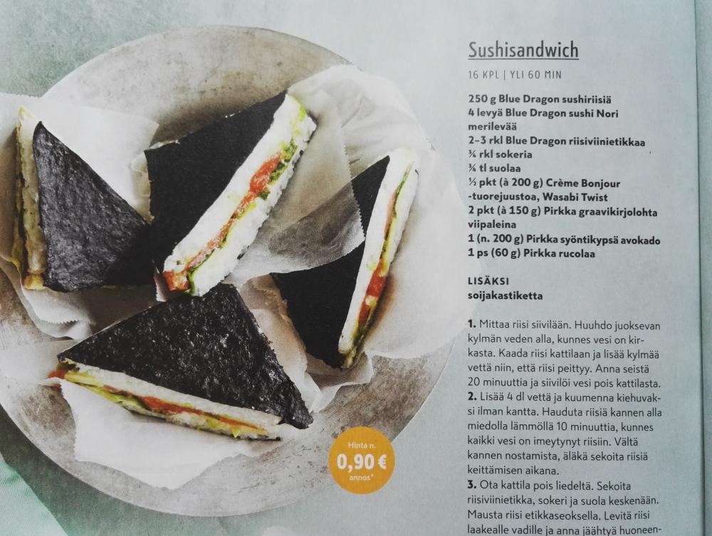 フィンランド 寿司サンドウィッチ わさび味のクリームチーズ