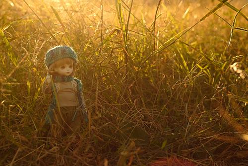 ROSEN LIED、Tuesday's child、通称・火曜子のチェルシー。森ボーイ風のお洋服に、自作の帽子とマフラーを加えて、秋の野原にお出かけ。