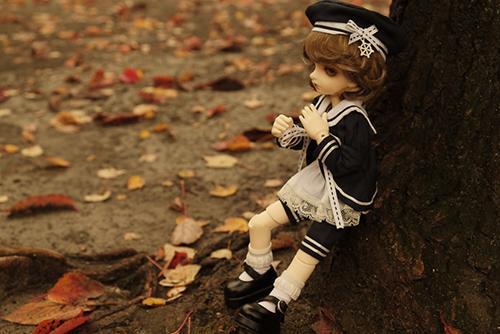 BJD CROBI-DOLL, E Line, Toriのロビン。落ち葉の公園にて。