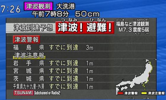 """福島県沖で午前5時59分頃M7.3の地震、福島県沿岸に""""津波警報""""今すぐ避難を … 予想される津波の高さは最大で3m"""