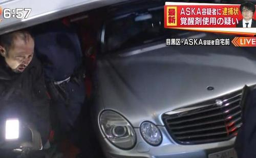 ASKA容疑者の愛車メルセデスベンツのエンブレム、マスゴミによって破壊される