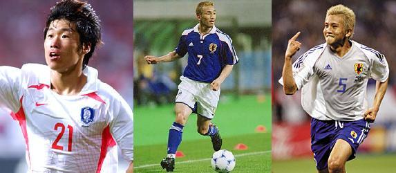 Asian Football stars Park Inamoto Nakata