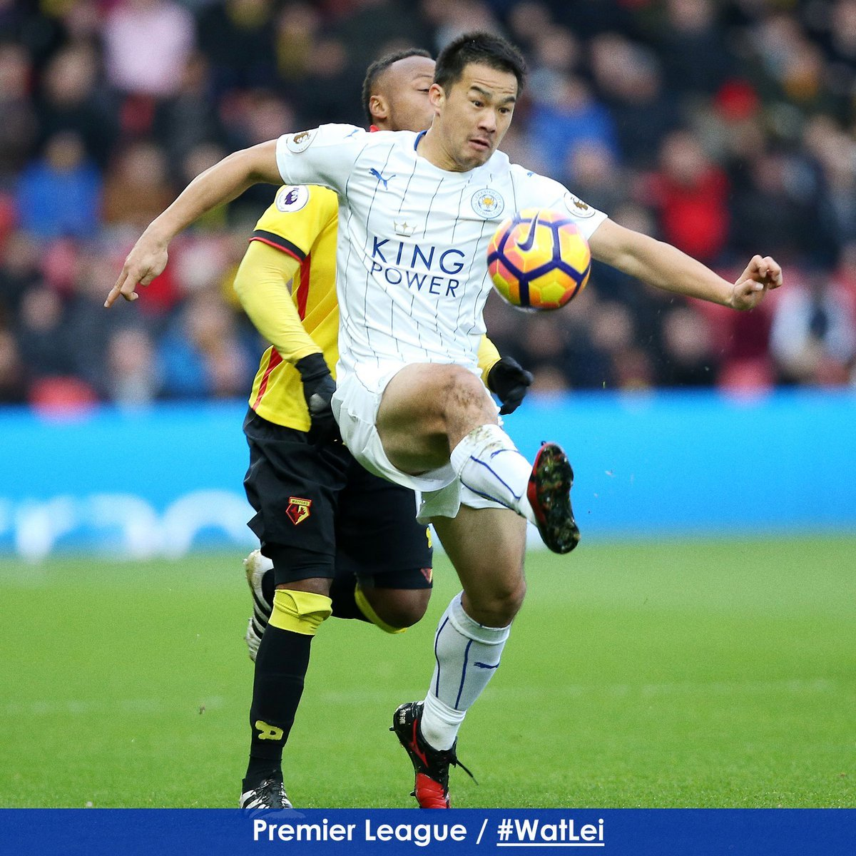 Shinji Okazaki does well to bring the ball down under pressure