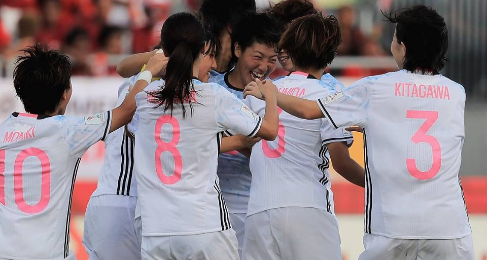 Honoka Hayashi (c)of Japan is congratulated on her goal