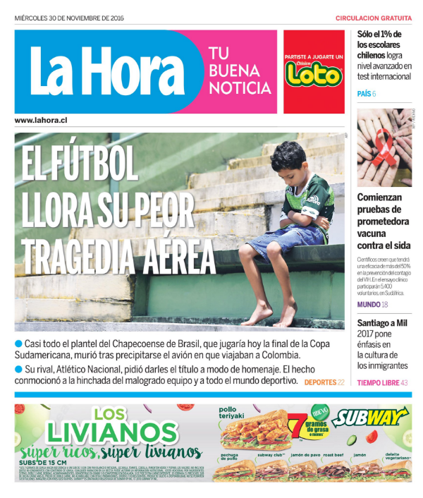 La Hora (Chile) Football cries its worst tragedy