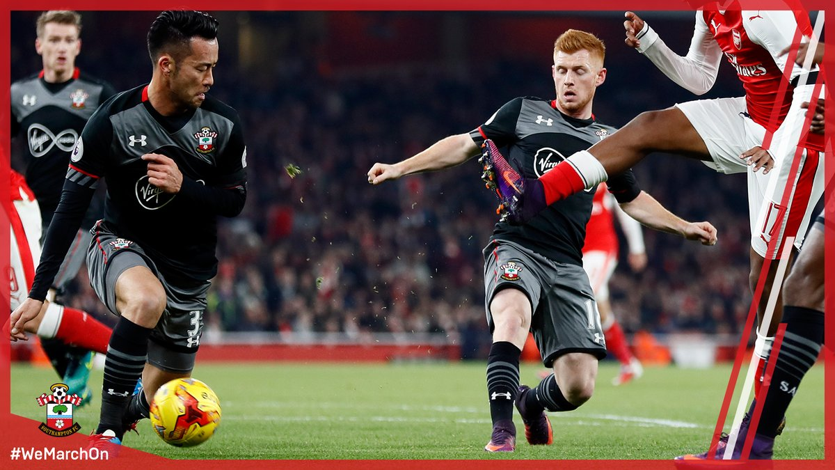 @MayaYoshida3 is the first #SaintsFC player into the book, for a foul on Jeff Reine-Adelaide