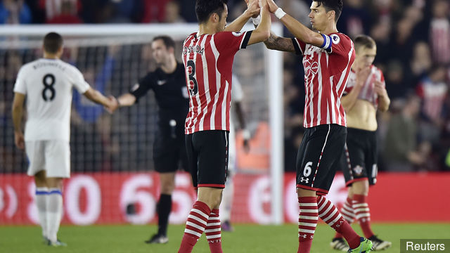 Southamptons Maya Yoshida celebrate with Jose Fonte after the match