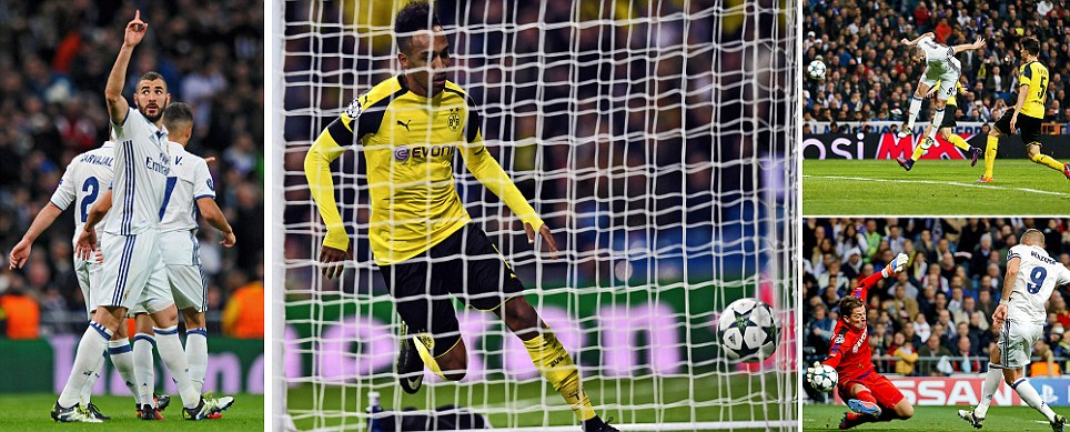 Real Madrid 2-2 Borussia Dortmund Reus grabs late equaliser to clinch top spot away from Spanish giants following Benzema brace