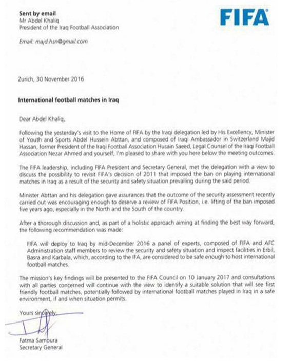 FIFA to dispatch panel of experts to Iraq in Dec, to review safety and security situation and inspect facilities in iraq