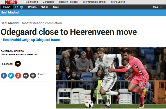 Odegaard close to Heerenveen move