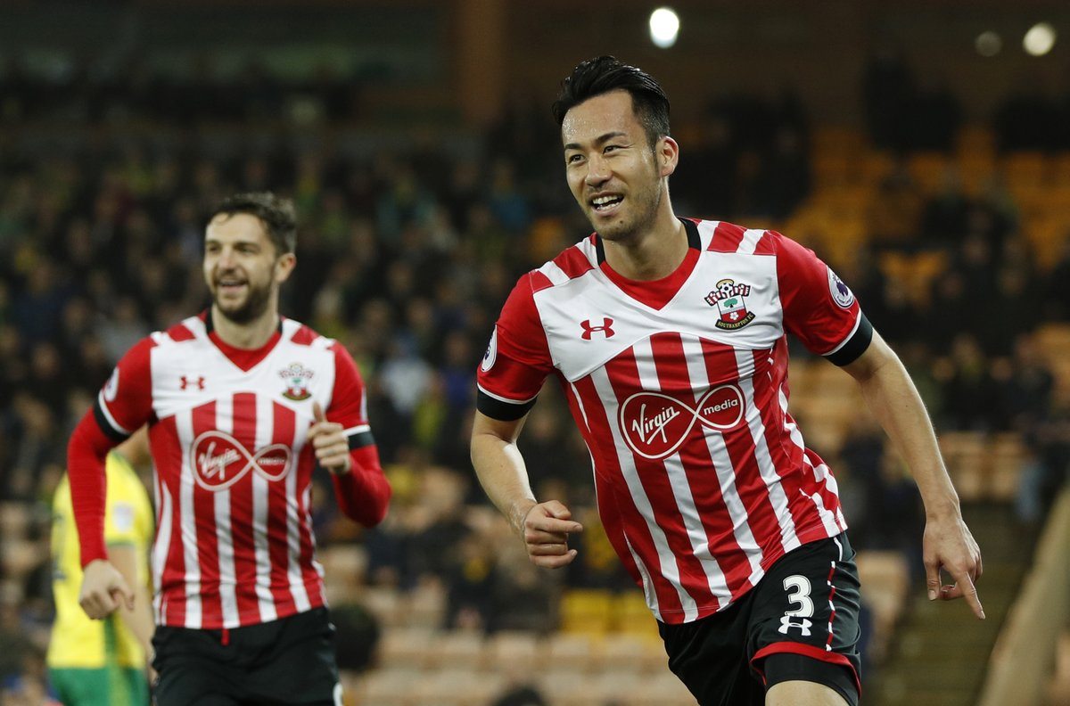 Maya Yoshida celebrates his goal for Southampton They now lead Norwich 2-1